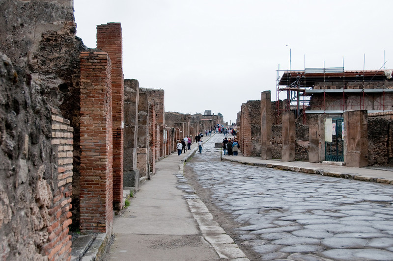 Ruins of Pompeii - View down the street