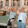 Lynn Levin and Sandy Dubin throwing coins into Trevi Fountain