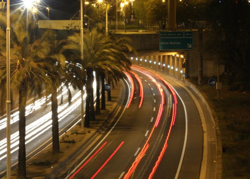 Car trails in Barcelona