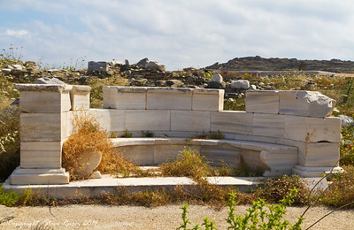 Marble exedra in front of the Propylaea - Delos, Greece