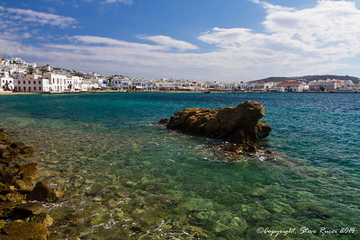 Looking across the harbor in Mykonos, Greece