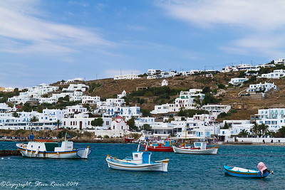 Fishing boats in the harbor of Mykonos, Greece