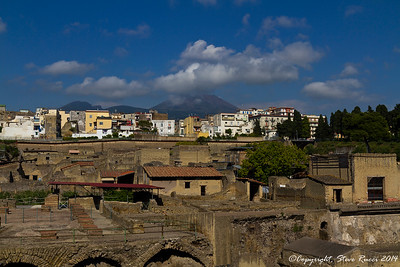 The ancient ruins of Herculaneum, Mount Vesuvius in the background