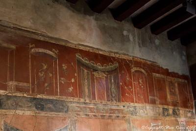 Frescoes inside a building in Herculaneum
