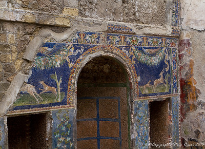 Mosaic decoration inside one of the rooms in the ancient ruins of Herculaneum