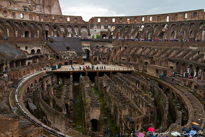 Inside the Colosseum, Rome, Italy.