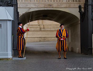 Swiss Guards protecting an entrance of the Vatican.