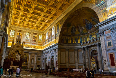 Inside St. Paul's basilica, Rome, Italy.