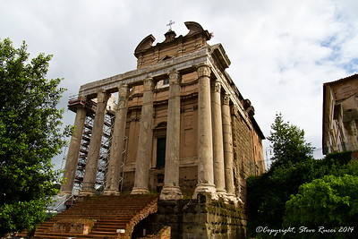 Temple of Antoninus and Faustina, later converted into the church of San Lorenzo in Miranda.