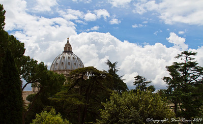 Looking towards the dome of St. Peter's basilica at the Vatican.