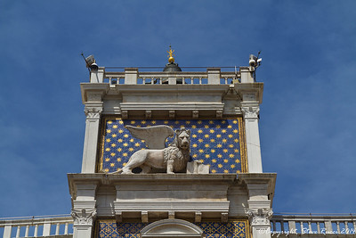 Close-up of the Lion of Venice on the clock tower, Venice, Italy.