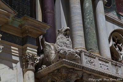 Detail outside of St. Mark's Basilica, Venice, Italy.