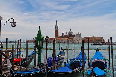 Gondolas with the San Giorgio Maggiore in the background, Venice, Italy.