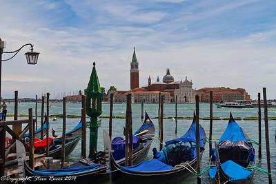 Gondolas with the San Giorgio Maggiore in the background, Venice, Italy.