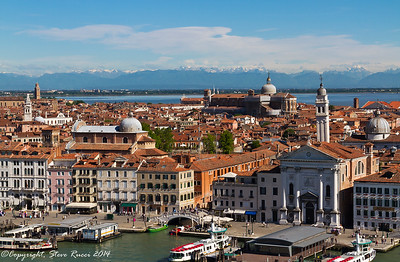 The Venetian skyline with the San Giorgio dei Greci, and San Zaccaria churches, and Basilica dei Santi Giovanni e Paolo in view.