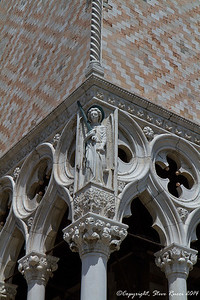 Detail on the outside of the Doge's Palace, Venice, Italy.