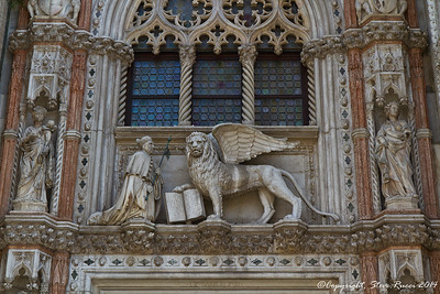 Close up of the connection between St. Mark's Basilica and the Doge's Palace, Venice, Italy.