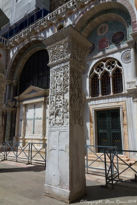"""One """"Pillar of Acre"""" outside of St. Mark's Basilica, Venice Italy.  The pillars actually came from the church of St Polyeuktos in Constantinople (524-7), and were probably taken by the Venetians soon after the fourth crusade in 1204."""