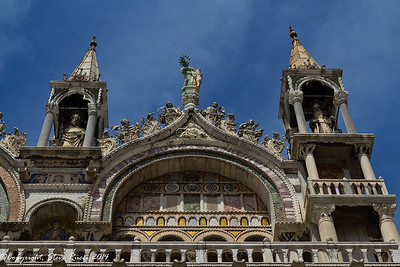 Detail of some of the spires at the top of St. Mark's Basilica, Venice, Italy.