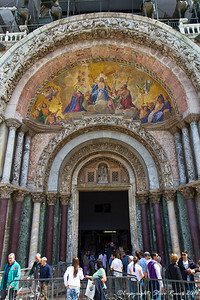 Fresco on the outside of St. Mark's Basilica, Venice, Italy.