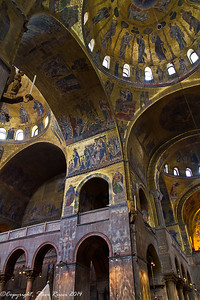 Looking up at the domes inside St. Mark's Basilica, Venice, Italy.