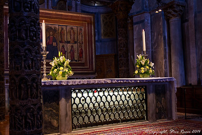 The tomb of St. Mark, under the altar inside St. Mark's Basilica, Venice, Italy.