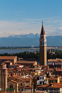 Looking out across the Venetian skyline with the bell tower of the San Francesco della Vigna church.