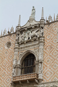 Detail on the Doge's Palace, Venice, Italy.