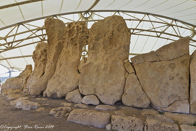 Huge upright stones at the Hagar Qim prehistoric temple area.