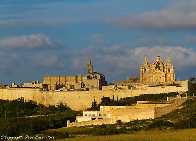 A view of Mdina Cathedral from outside the city walls.