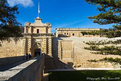 The main entrance gate in the walls surrounding the medieval city of Mdina, Malta.