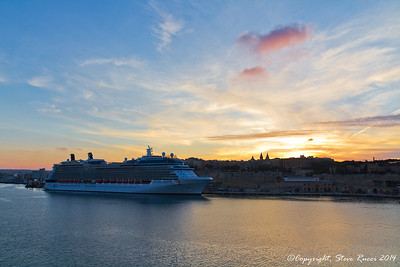 The Celebrity Silhouette cruise ship in Valletta harbor at sunset.
