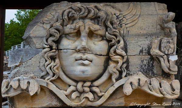 Stone carving of a Medusa head at the Temple of Apollo - Didyma, Turkey