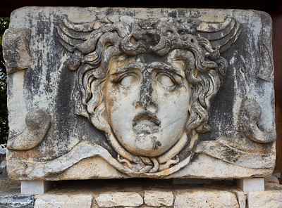 Stone carving of head of Gorgon at the Temple of Apollo - Didyma, Turkey