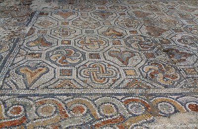 Colorful mosaic tile floor at the ancient ruins of Epheus, Turkey