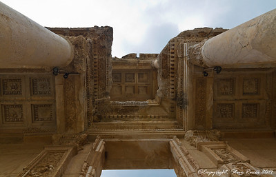 The ruins of the ancient Library of Celsus at Ephesus, Turkey