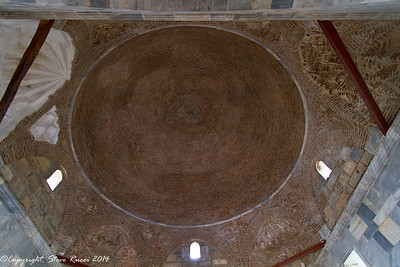 Looking up at the dome, inside the Ilyas Bey mosque at Miletus, Turkey