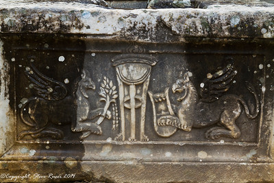 Carved detail of griffins in the theatre at the ancient ruins of Miletus, Turkey