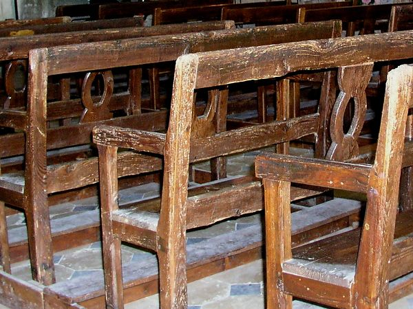 The pews are very old and interesting