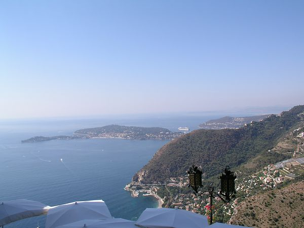 A view of the sea from a restaurant patio in Eze
