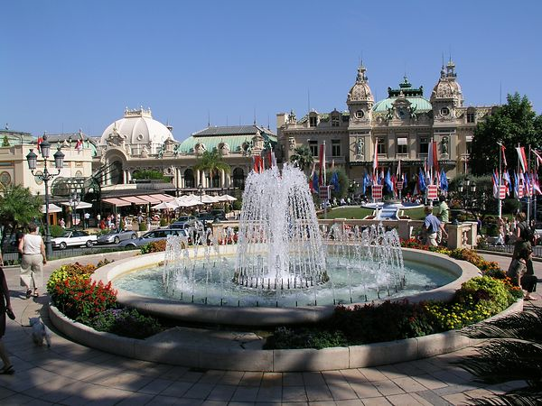 A fountain in front of the Casino