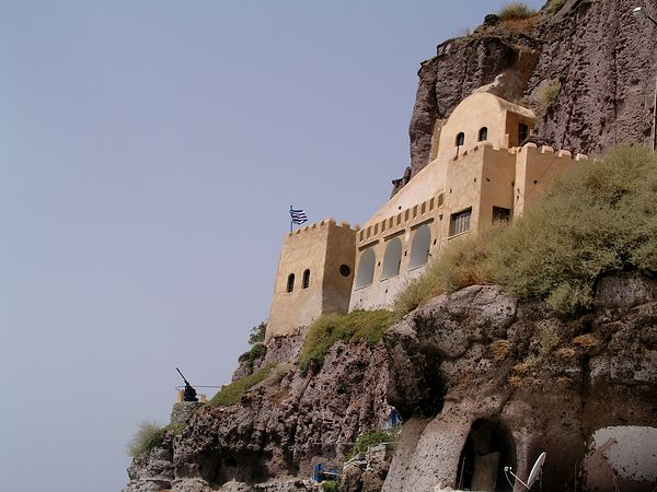 A fort on the cliff above the harbor
