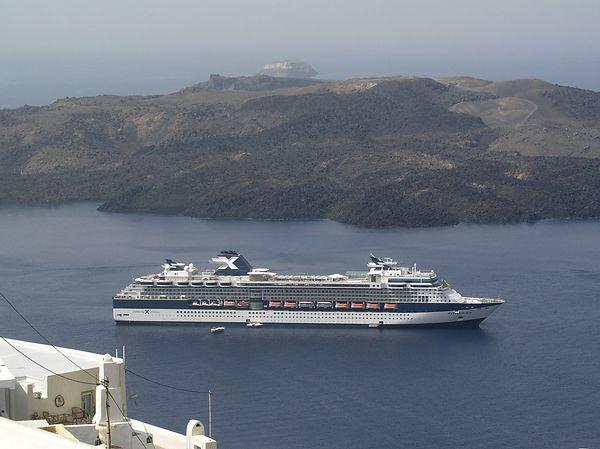 The fog has lifted and we can see the Celebrity Millennium anchored below the town of Fira.