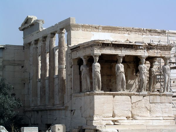 The Caryatides, or Maidens, is the south Portico of the Erechtheion. It features six statues of beautiful girls with baskets on their heads.