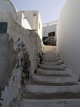 One of the many narrow stairways in the town