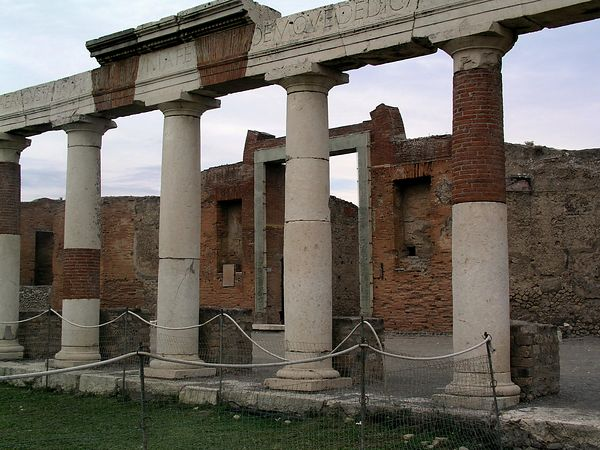The Sacrarium of the Lares is a building that housed the statues of Pompeii's guardian deities, the Lares Publici.
