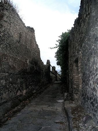 The narrow streets are paved in hard stone.