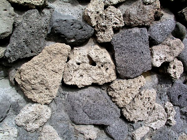 The walls are made with pumice stone.