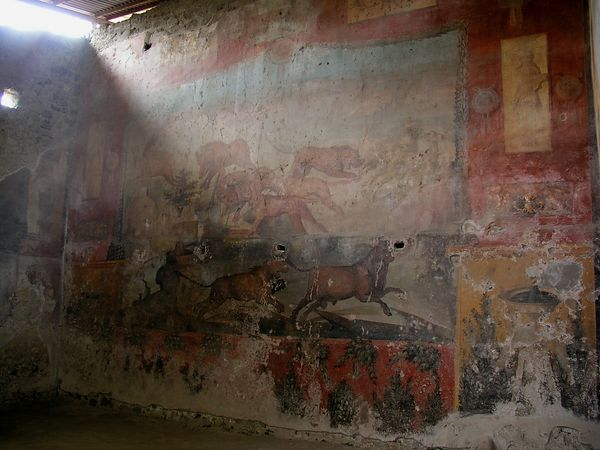 A large painting on the wall of the baths shows many kinds of animals and even shows a knowledge of perspective.