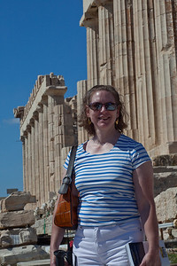 Linda at the Parthenon.  It was diffcult to get a picture without the cranes in them.  Frankly I liked the other ruins below the Parthenon than the building itself.